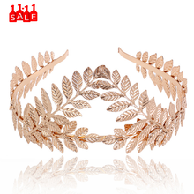 korea hair bow Women Headband Goddess Leaf Flower Hair Crown Head Piece Gold Band Bridal hair accessories gumki do wlosow #ZD(China)