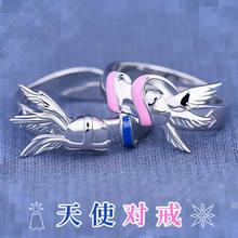 Anime Angel Digimon Adventure Angemon Angewomon Lover Rings Fashion 925 Sterling Silver Ring Cosplay Prop Jewelry Daily Cos Gift(China)
