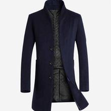 Outwear Winter Wool Jacket Men High-quality Coat casual Slim collar wool coat Man long cotton trench Woolen 3XL