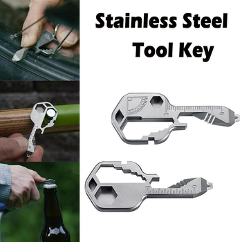 Multifunctional Universal Wrench Travel Pocket Size Camping Gadget Multi Tool Key Keychain Outdoor Stainless Steel Survival