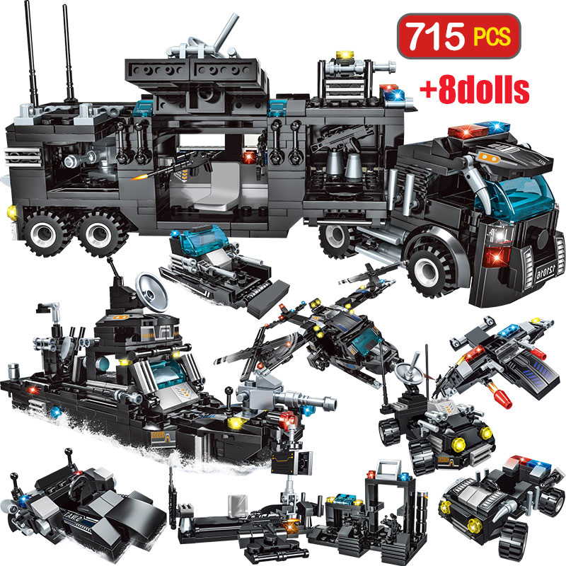 715pcs City Police Station Car Building Blocks SWAT Team Truck House Technic Diy Toys