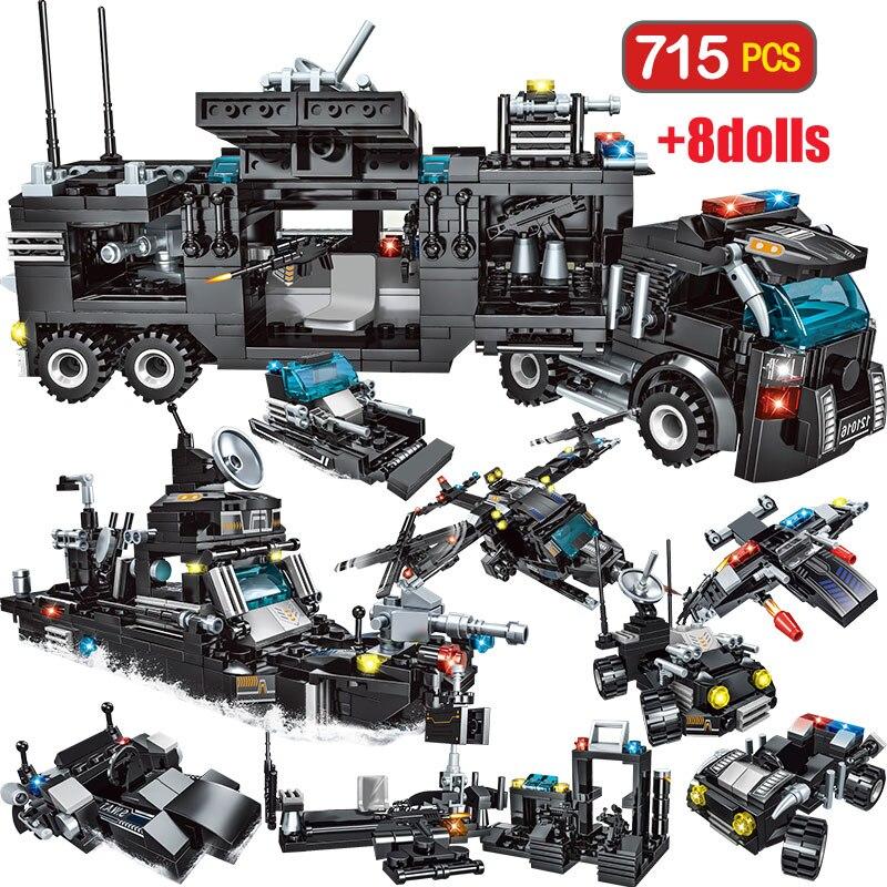 715 stücke City Polizei Station Bausteine Für Legoingly Stadt SWAT Team Lkw Blöcke Pädagogisches Spielzeug Für Jungen Kinder