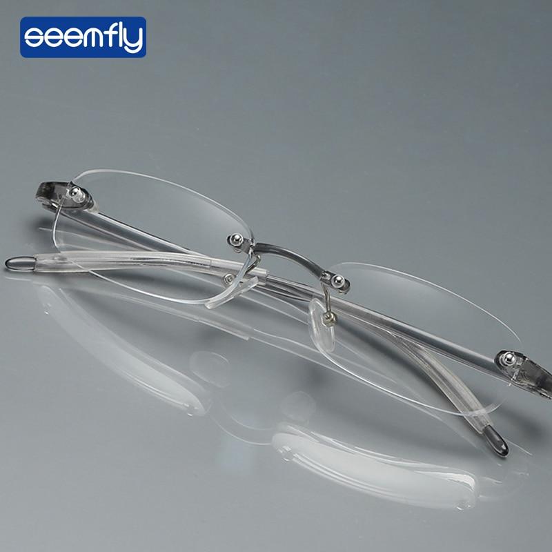 Seemfly Chic Ultra Light Myopic Glasses TR90 Frameless Glasses Myopia -1.0 -1.50 -2.0 -2.5 -3.0 -3.50-4.0 Diopter Myopic Glasses