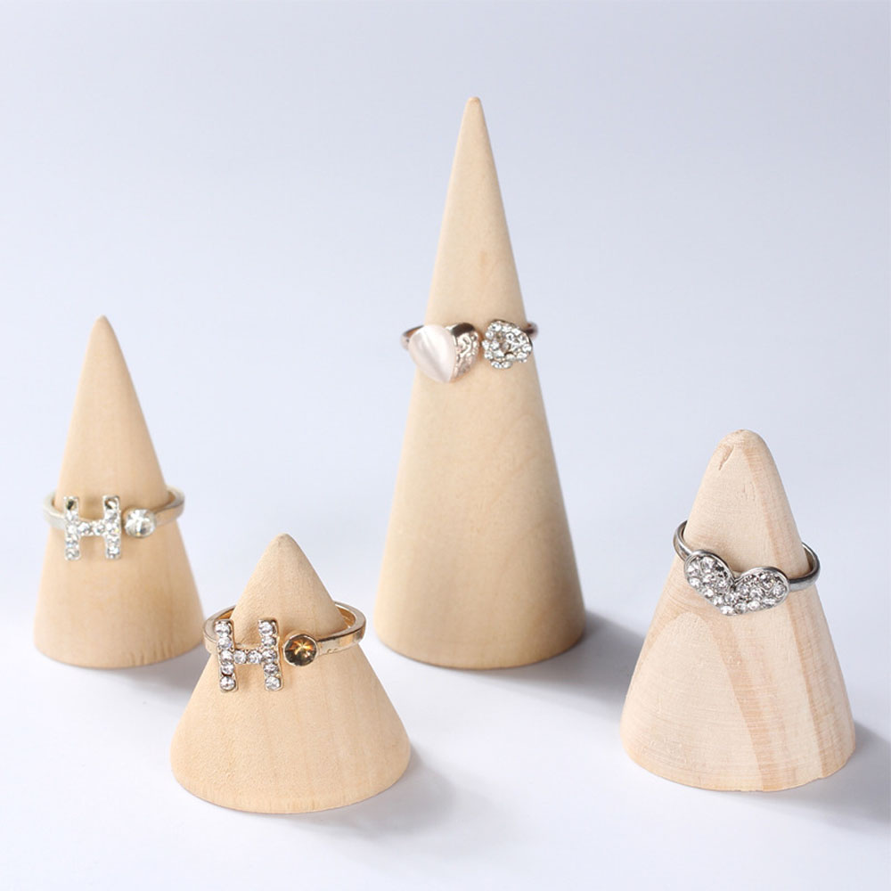 Natural Unpainted Wooden Ring Display Rack Cone Shaped Jewelry Display Stand Organizer Showcase For Exhibit