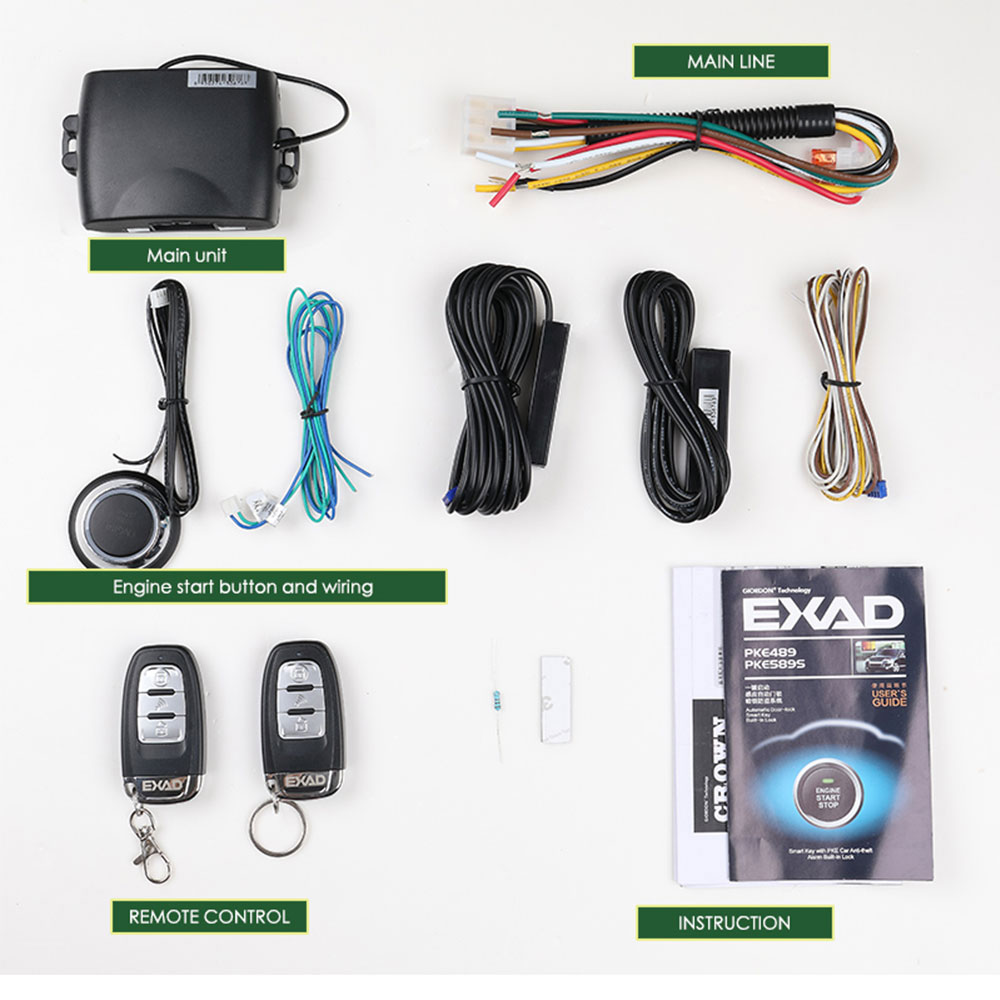 80-100M Control Remote Car Starter Universal Remote Start For Car Engine Keyless Entry PKE Automatic Central Locking//unlock Door,Car Alarm System with Shock Sensor