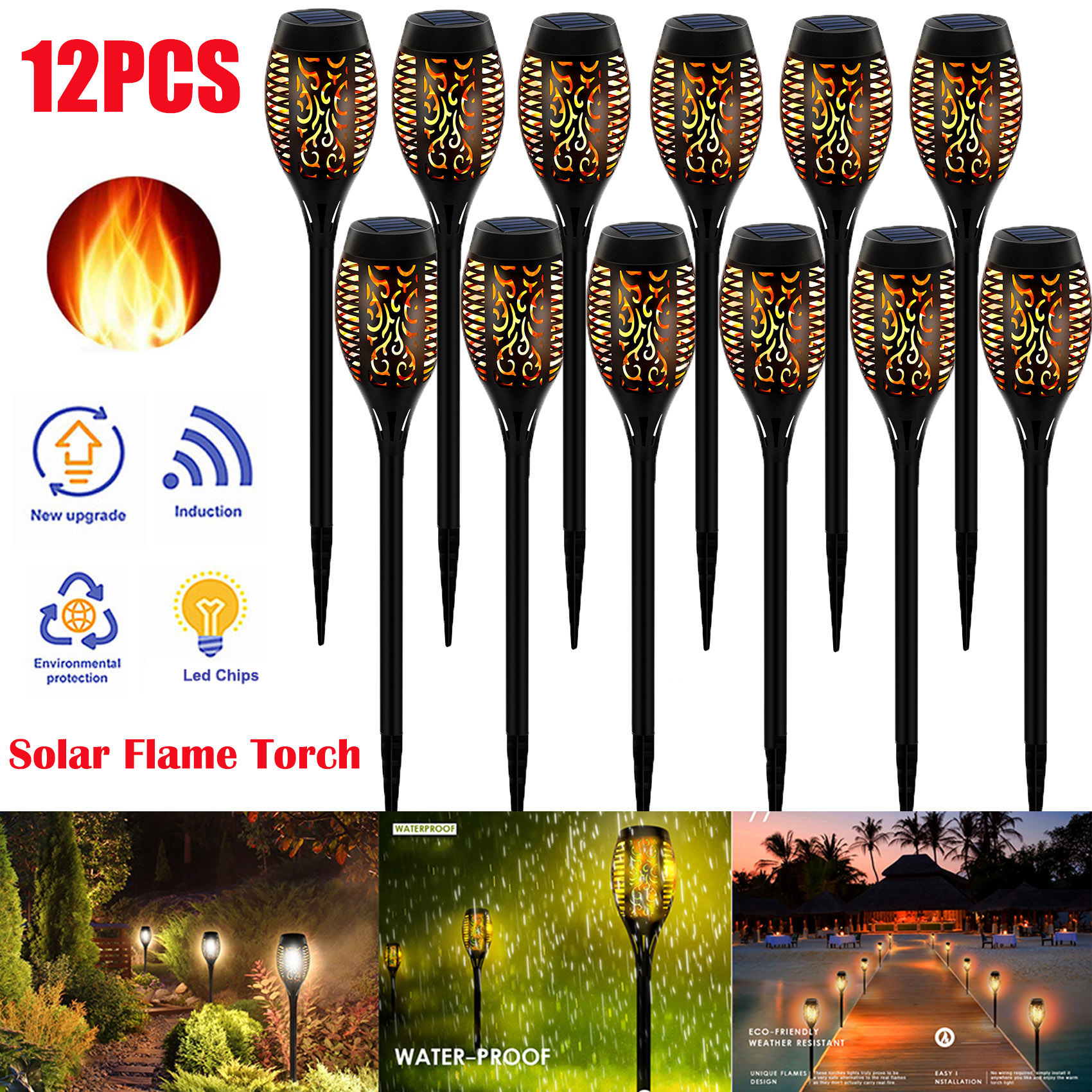 LED Solar Flame Torch Lamp Outdoor Lights Solar Garden Light Flickering Lamp Courtyard Balcony Lawn Path Spotlight Dropshipping