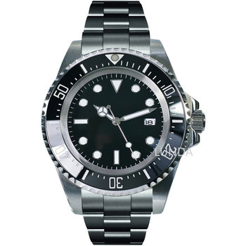Solid Bliger 44mm black sterile dial luminous marks ceramic bezel mineral glass deployment automatic movement mens watch