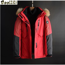 2020 Winter New Men #8217 s white Down Jacket Fashion Casual Hooded Thick Warm Long Coat Fur Collar Jacket Duck Down Overcoat cheap Loose zipper Full PATTERN Pockets Epaulet Zippers Thick (Winter) Broadcloth Polyester White duck down Collar Detachable