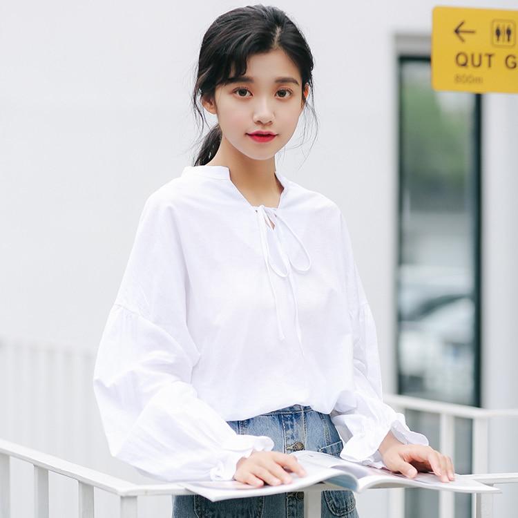 2019 automne couleur Pure femmes chemises all-match à manches longues col en v Blouses lanterne manches chemises femmes hauts
