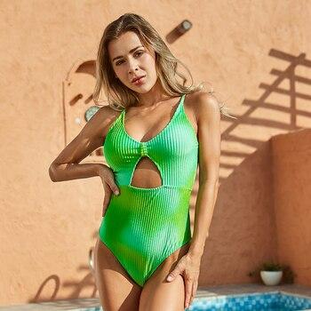 Badeanzug Push-Up Bademode Grün Monokini Brazilian Badeanzüge 1