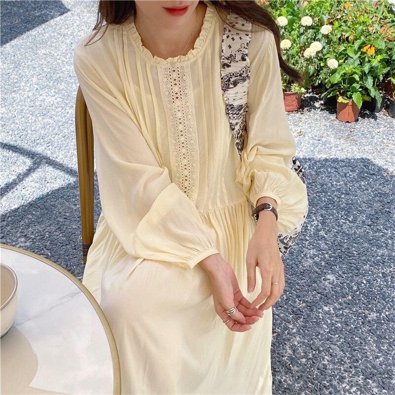 H49978940603a48e084968f0fa8e453ffq - Autumn O-Neck Lantern Sleeves Loose Lace Solid Dress