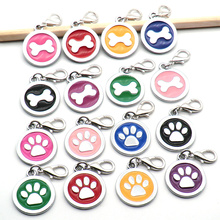 Wholesale 100 pcs Paw Shape Dog Collar Stainless Steel Cat Tag Pet Accessories ID tag Name Telephone Personalized