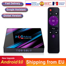 Caixa de tv inteligente android 9.0 h96 max rk3318 4k duplo wifi bt media player play store rápido android tv conjunto caixa superior h96max vs iptv