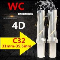WC C32 4D SD 31 32 33 34 35 mm Indexable Insert Brocas U Tipo Broca de Perfuração CNC Buraco Raso ferramenta Para Inserção de Wc