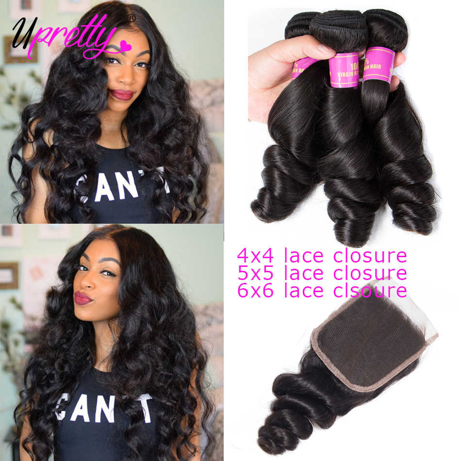 Upretty Hair Loose Wave Bundles With Lace Closure 5x5 Closure With Bundles Brazilian Remy Human Hair Weave Bundles With Closure