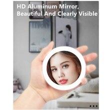 Hand Held Makeup Mirror Mini Portable LED Lighted Circular Compact Travel Sensing Lighting Cosmetic