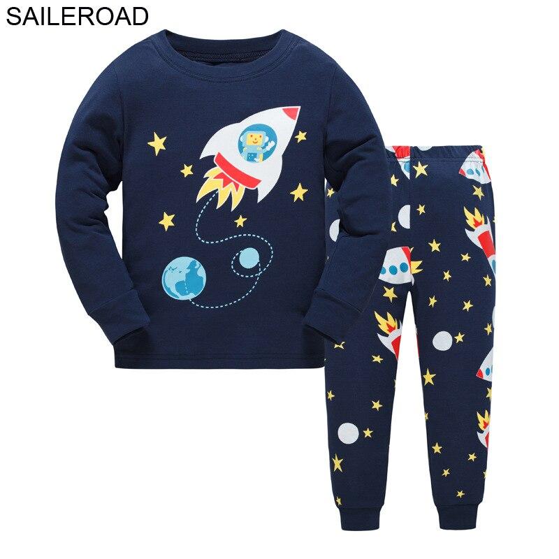 SAILEROAD Boys Nightwear 2020 Bulldozer Kids Pyjamas Suit Autumn Winter Baby Night Suit Cotton Children's Pajamas Sleepwear 2