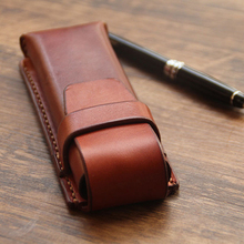 Vintage Rtro style Handmade Genuine Leather Pen Bag Cowhide Pencil Bag Vintage for Outdoor Travel Container