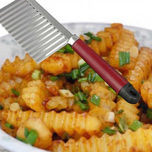 สแตนเลสสตีลมันฝรั่งผัก Crinkle เครื่องตัดใบมีด WAVE มีด