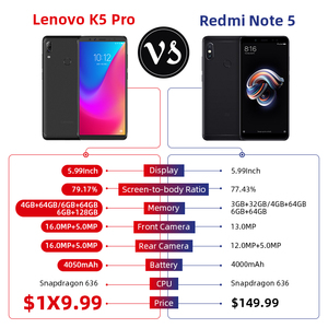 Image 2 - Küresel ROM Lenovo K5 Pro L38041 6GB 64GB Smartphone Snapdragon 636 Octa çekirdek 16MP dört kameralar 5.99 inç 4G LTE cep telefonu 4050mAh
