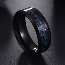 Titanium Steel Black Carbon Fiber Mens Cool Rings Fashion Red Blue Ring Jewelry(China)