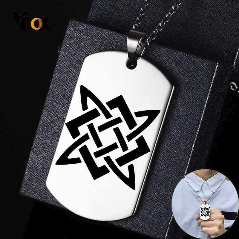 Vnox Slavia Bintang Rusia Anjing Stainless Steel: Guardian Star Svaroga Square Bahasa Rusia Simbol Ikon Kustom Pria Kalung