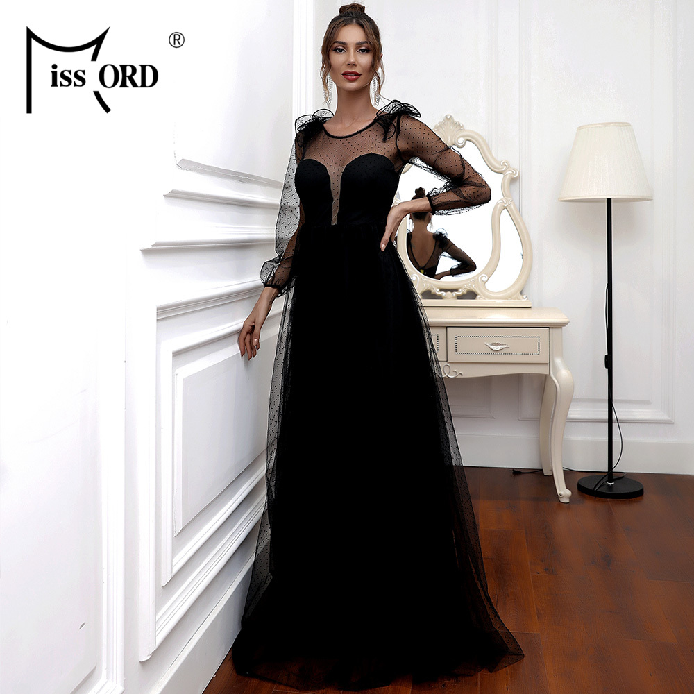 Missord Autumn Sexy See Through Mesh Party Dress Black Beach Maxi Dress Backless Solid Color Elegant Celebrity Women Dress M0528