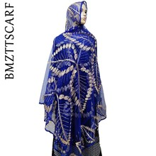 Mais novo africano mulheres scarfs folha design grande bordado macio net cachecol respirar material scarfs verão bm01