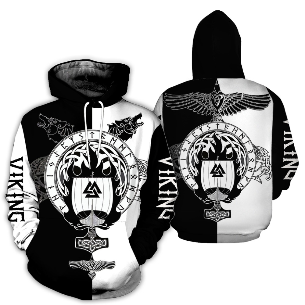 2019 New Fashion Men hoodies 3D All Over Printed Viking Tattoo T-shirt/Hoodie costume Unisex Casual Tracksuit streetwear WS-H77 1