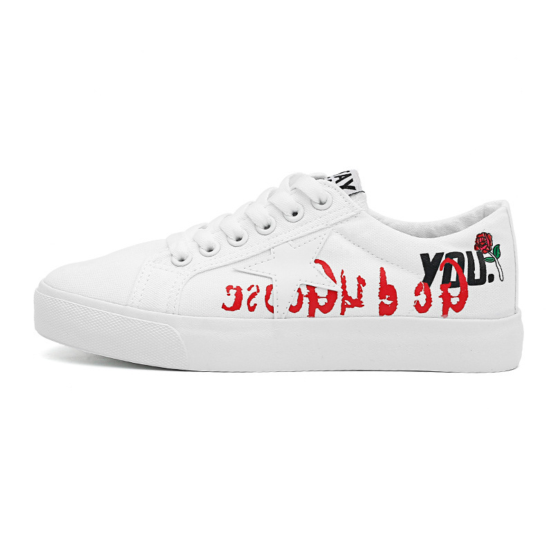 2017 Autumn New Style Solid Color White Shoes Thick Bottomed Printed Sneakers Students Korean-style Casual Shoes Street Snap Can