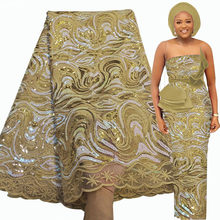 Bestway – tissu africain en dentelle, longueur 5 Yards, paillettes dorées brodées, matériel de couture pour robe de mariage nigériane Asoebi, haute qualité, 2021