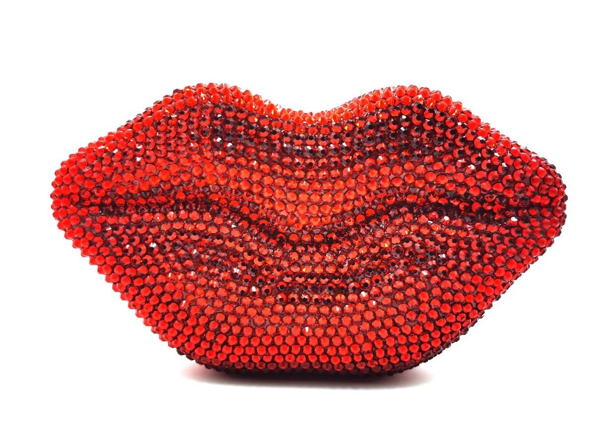 Bag For Women Luxury Red Lip Handmade Diamond Evening Bag Wedding Bride Clutch Zero Wallet Cocktail Evening Bags-BeeInFly