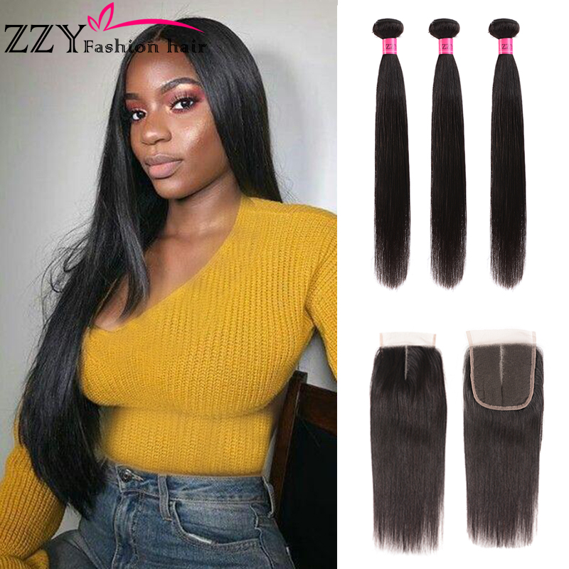 ZZY Fashion Hair Peruvian Hair Bundles With Closure Straight Hair Bundles With Closure Hair Weave Bundles Non-remy