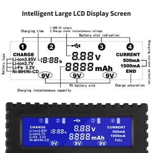 Image 4 - HTRC 4 Slot Battery Charger Li Ion Li fe Ni Mh Ni CD LCD Intelligente Fast Charger Per 26650 6F22 9V AA AAA 16340 14500 18650 Batteria