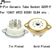10 pçs cerâmico 9pin chassis montar tubo de vácuo soquete para 12ax7 12at7 12au7 ecc83 el84 6922 vintage tubo de alta fidelidade amp diy