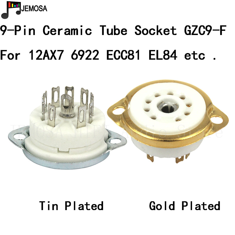 10PC Ceramic 9pin Chassis Mount Vacuum Tube Socket For 12AX7 12AT7 12AU7 ECC83  EL84 6922 Vintage Hifi Tube AMP DIY