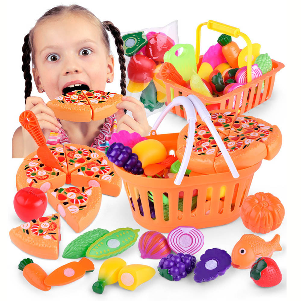 Plastic Kitchen Toys Food Fruit Vegetable Cutting Kids Pretend Play Educational Toy Safety Children Kitchen Toys Sets Brinquedos