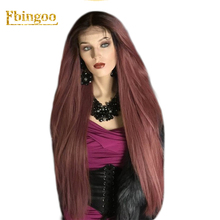 Ebingoo 42 Inch Long Straight Burgundy Wine Synthetic Lace Front Wig Women's Middle Part Stylish Wig