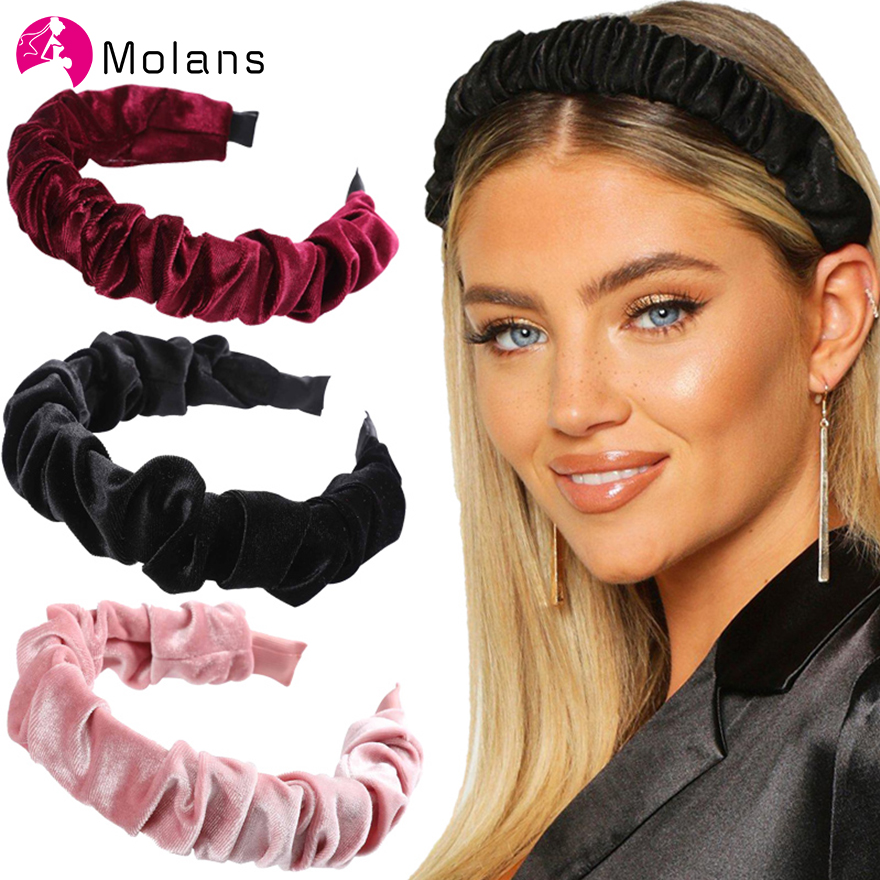 Molans New Velvet Ruched Headbands Elegant Solid All Side Wrapped Hairbands For Women Soft Velvet Pleated Wide Headband