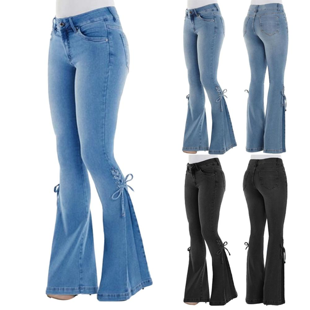 2020 macacao feminino Plus Size Women Vintage Flare Jeans Lace Up Bow Skinny Wide Leg Denim Pants