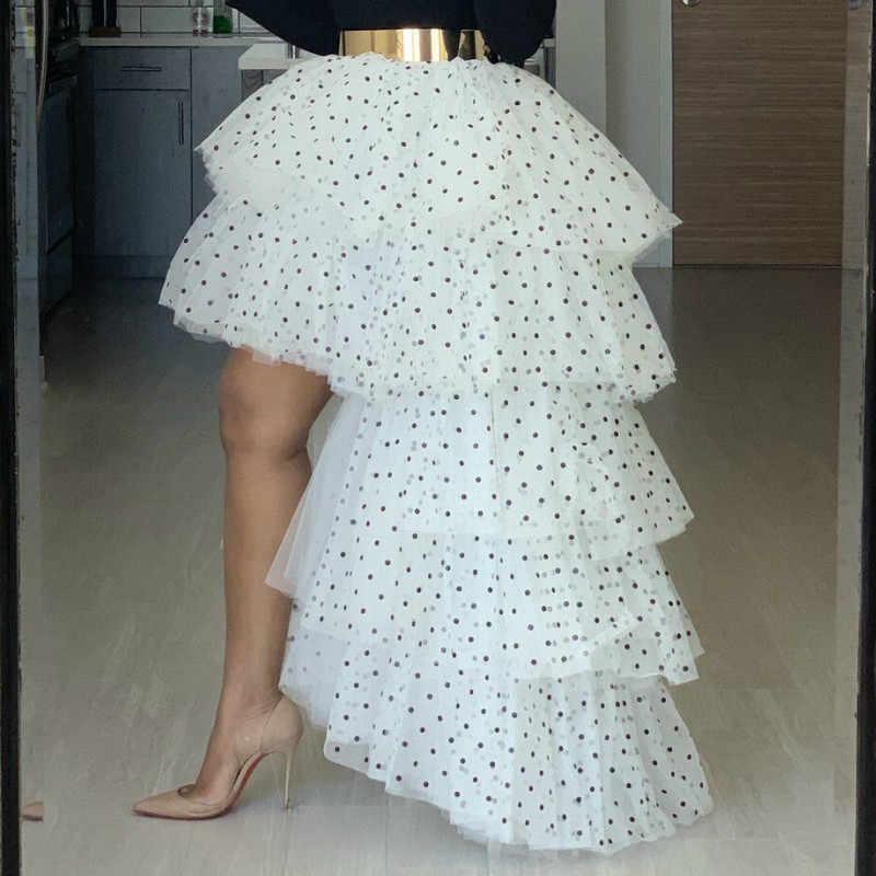 סקסי לבן עוגת חצאית שחור נקודות Mesh שכבות גבוהה נמוך חצאית ארוך אביב הקיץ חדש הגעה 2020 קוריאני אופנה 2XL dropshipping