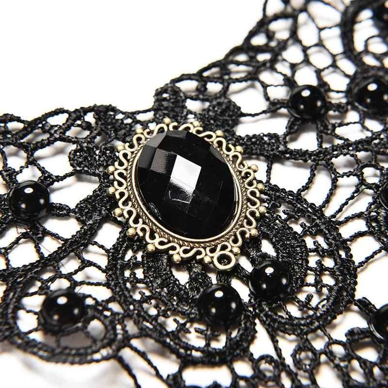 Gotik Punk tarzı mücevher dekorasyon kadınlar siyah dantel boncuk gerdanlık yaka kolye gerdanlık takı