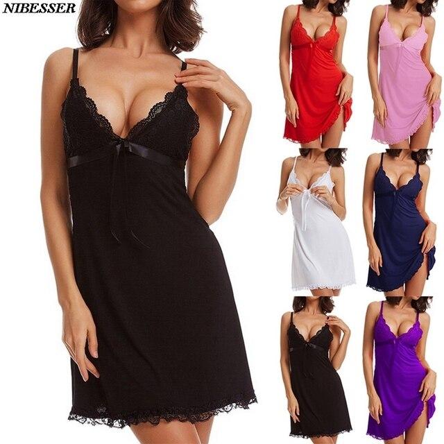 2020 mode femmes robe de nuit solide dentelle Spaghetti sangle vêtements de nuit femmes Sexy profonde col en V Bow femmes chemises de nuit et chemises de nuit
