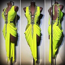 Costume-Lime Dresses Latin-Wear Dancing Comptition Women Long-Sexy Ladies