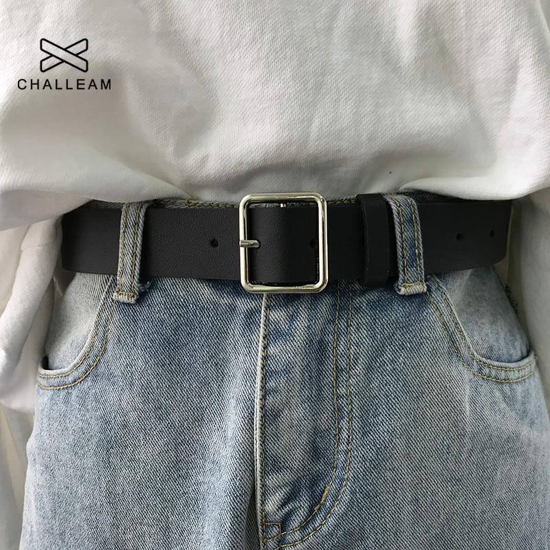 2021 PU кожаный ремень для женщин квадратная пряжка булавка пряжка джинсы черный ремень шикарный роскошный бренд причудливый винтажный ремен...