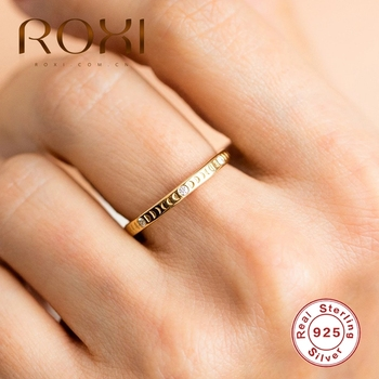 ROXI 925 Sterling Silver Crescent Zircon Crystal Stone Rings for Women Wedding Ring Jewelry Anillos Bijoux Femme
