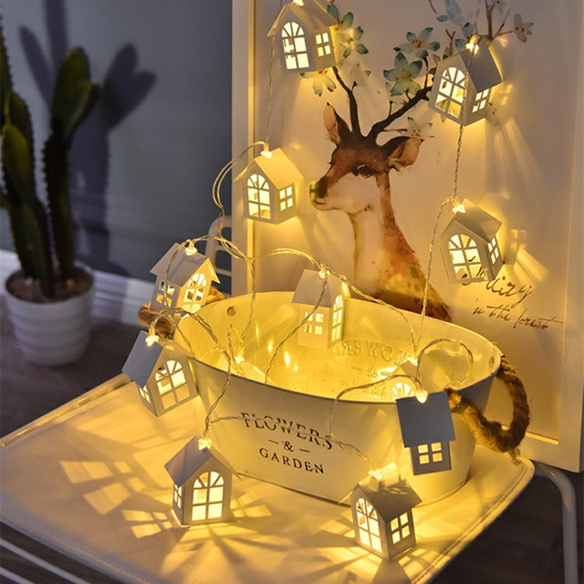 2M 10 LED Wood House Lamp Christmas Decor String Light Garland Holiday New Year Novelty Room Wedding Party DIY Decoration