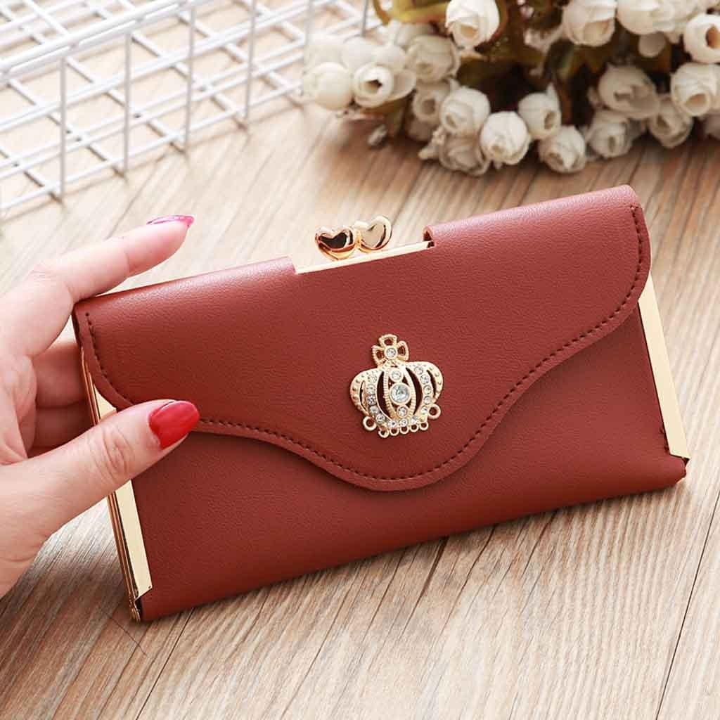 Fashion Clutch Bag Crown Diamond Mobile Phone Bag Ladies Long Evening Purse Vintage Women Leather Wallet Pocket Credit Card A40#