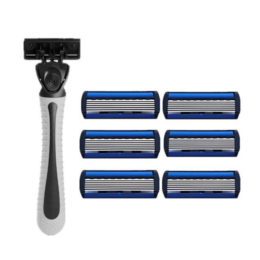1pcs Beard Shaver Rack +6-Layer Blades Manual Beard Shaver Manual Hand Safety Razor 6PCS 6-Layer Blade ABS Grip Anti-slip
