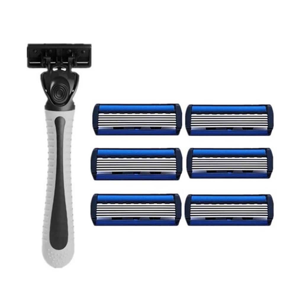 1pcs Beard Shaver Rack +6-Layer Blades Manual Beard Shaver Manual Hand Safety Razor 6PCS 6-Layer Blade ABS Grip Anti-slip